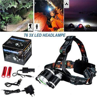 12000LM 3x CREE T6 Lampe Frontale Rechargeable Pr Camping Chasse Pêche Torche SQ