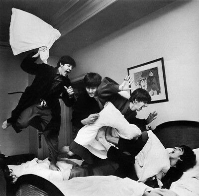 Beatles Barry Henson Hotel On Tour Pillow Fight Photograh Canvas Print