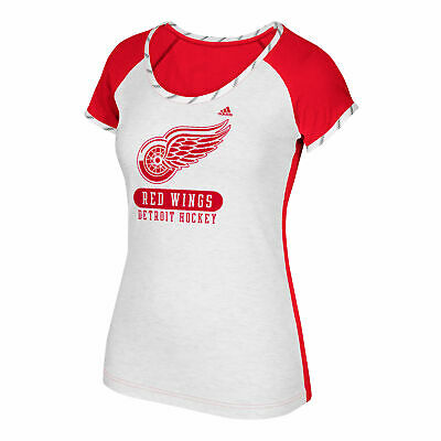 NHL Detroit Red Wings adidas Authentic Skate Lace T Shirt Womens
