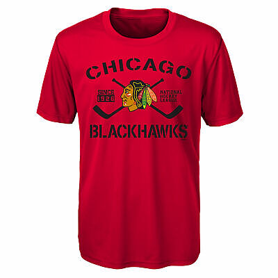 NHL Chicago Blackhawks Performance Team Logo T Shirt Top Youth Kids Fanatics