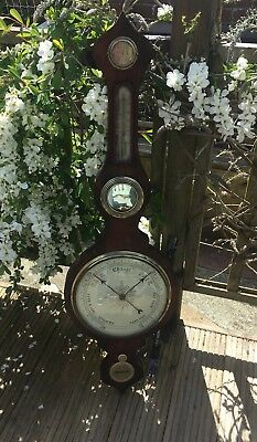 Antique Victorian Banjo Barometer & Thermometer