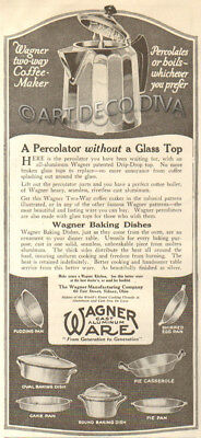 Antique 1920's Wagner Ware COFFEE POT Percolator Kitchen Cook Pot Pan Cooking Ad