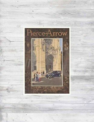 Antique 1915 PIERCE ARROW Automobile Car CATHEDRAL Church Sunday Art Poster Ad