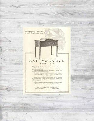 Antique 1915 Aeolian Phonograph VOCALION Louis XVI Style M Art Design Musical Ad