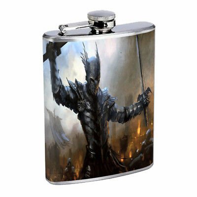 Medieval Knight D7 Flask 8oz Stainless Steel Hip Drinking Whiskey