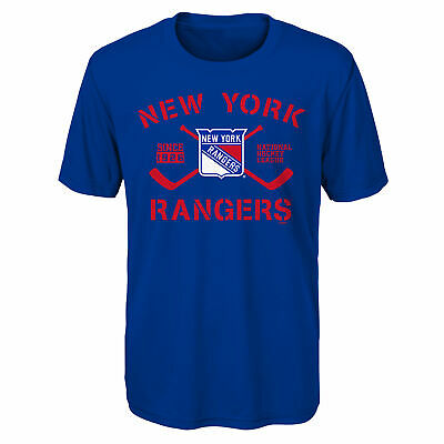NHL New York Rangers Performance Team Logo T Shirt Top Youth Kids Fanatics