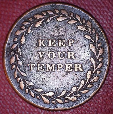 SCARCE 1830's HOYLE TYPE KEEP YOUR TEMPER WHIST GAME TOKEN - MALE PLAYER - *1561