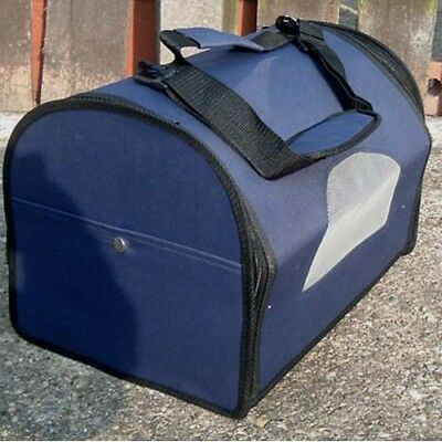 Fold flat small dog or cat carrier, with shoulder strap.  Air vents in sides.
