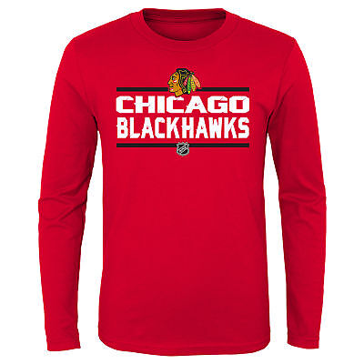 NHL Chicago Blackhawks Long Sleeve Cotton T Shirt Top Youth Kids Fanatics