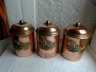 French set of  copper containers and lids decorative - collection