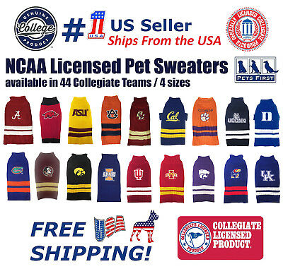 NCAA Pet Sweater - Licensed 100% Warm Acrylic knitted. 44 College Teams, 4 sizes
