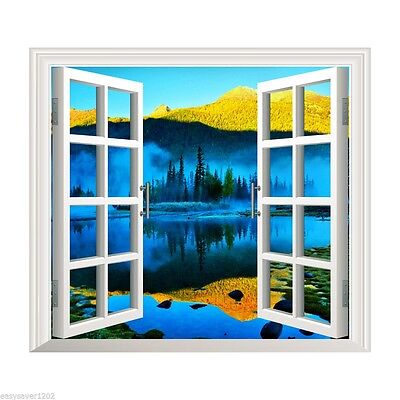 Window View Wall Decal Art Decor Lake Palm Vinyl Home Beach Sticker 3D Paper