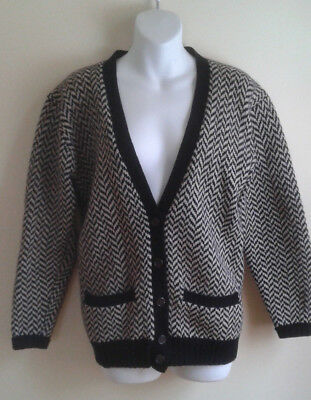 Vintage RALPH LAUREN sweater WOOL CARDIGAN SZ SMALL BLACK AND WHITE