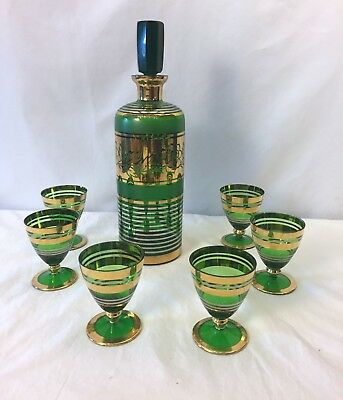 Mid Century Green/Gold Glass Liquor Decanter 6 Cordial Glasses  Barware Set