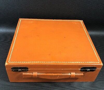Vintage Leather Stitched / Wood Hinged Poker Card Chip Box Double Layer (16)