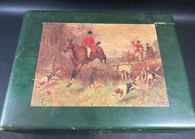 Wooden Poker Chip/ Playing Card Box With Hunt Scene Old Plastic Chips Inside (c)