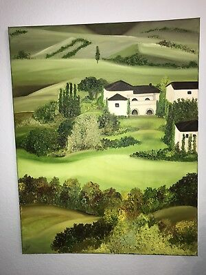 Original painting Oil on canvas 22x28in French Country Side by Jazmin