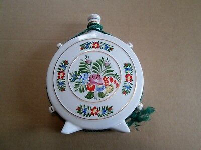 Vintage Hollohaza Porcelain Flask With Hand Painted Decoration.