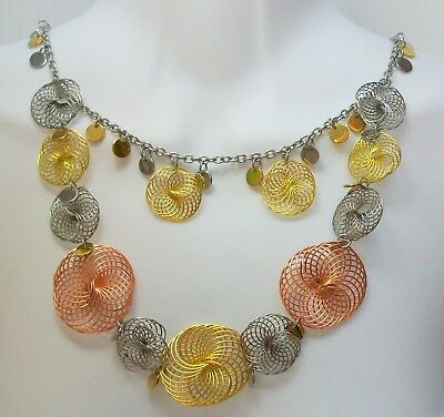 """Vintage Multi Double Strand Chain Necklace Gold Silver Copper Tone 31"""" Long"""
