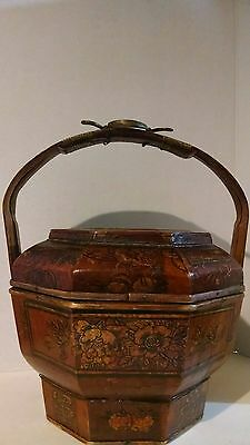"""ANTIQUE WOODEN ASIAN RICE BASKET BUCKET tall16""""deep10""""wide12"""" with brass handle"""