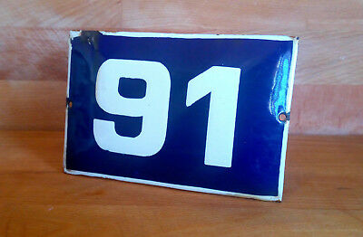 ANTIQUE VINTAGE ENAMEL SIGN HOUSE NUMBER # 91 BLUE DOOR GATE STREET SIGN 1950's