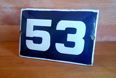ANTIQUE VINTAGE ENAMEL SIGN HOUSE NUMBER # 53 BLUE DOOR GATE STREET SIGN 1950's