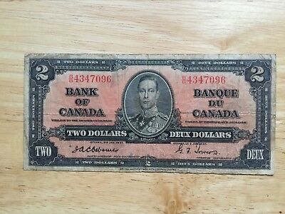 Rare 1937 $2  Canadian bank notes Osborne/Tower  USED LOOK at Pictures
