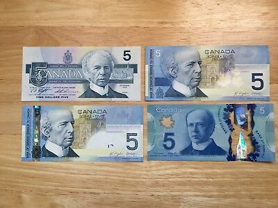 Set Of 4 Different $5 Canadian Bank Notes In Gem Uncirculated Condition