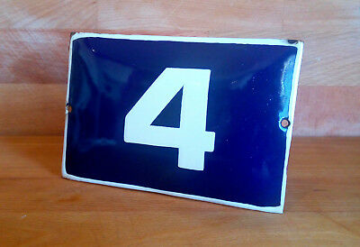 ANTIQUE VINTAGE ENAMEL SIGN HOUSE NUMBER # 4 BLUE DOOR GATE STREET SIGN 1950's