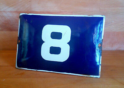 ANTIQUE VINTAGE ENAMEL SIGN HOUSE NUMBER # 8 BLUE DOOR GATE STREET SIGN 1950's