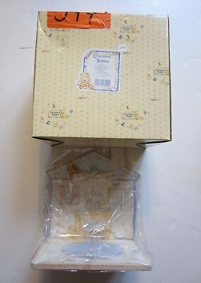 """New Cherished Teddies """"Our Cherished Family"""" Wood House Shaped Displayer w/ Box"""