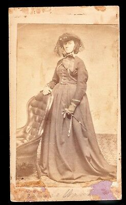 Rare Antique Victorian Civil War Era CDV Photo Identified Woman Vinvadier Boston