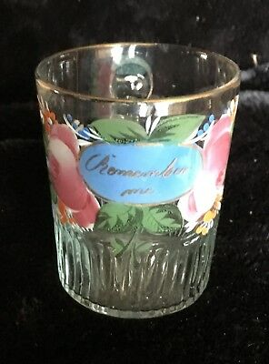 """19th Cent. Mold Blown and Enamel """"Remember Me"""" Flint Glass Cup - Stunning!"""