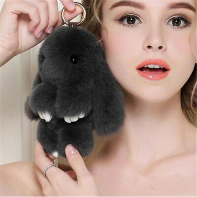 Adorable Fur Bunny Fluffy Rabbit Plush Toy Keyring Bag Charm Pendant Keychain EU