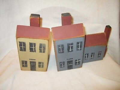 Country Primitive Farmhouse Solid Wood Salt Box Houses Blue Mustard Set of Two