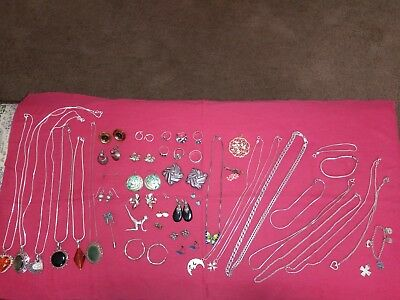 Huge lot of sterling silver jewelry! Vintage and new! 347.9 grams! FREE SHIPPING