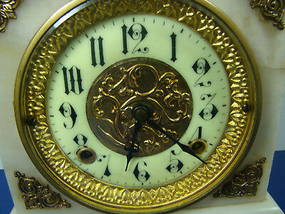 Antique FRENCH Mantel Clock Marble Shell Porcelain Face Gold Gilt decor NICE!!