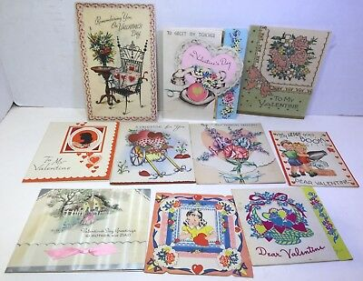 "VINTAGE VALENTINE GREETING CARDS variety, lot of 10, 2 ""double- glo"""