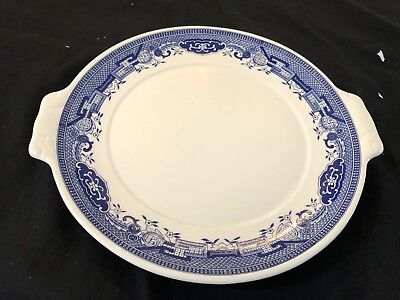 Vintage Old Willow Cake Plate Wth Tab Handles  - Webb  Japan In  Ex. Cond 26Cm