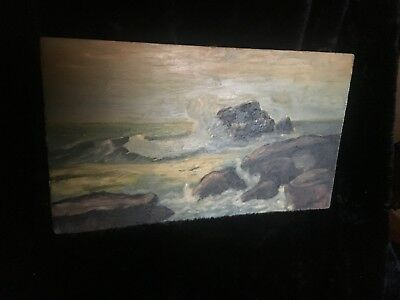 Early 20th Century Impressionist Coastal Seascape Oil on Board - Unknown Artist