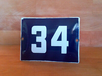 ANTIQUE VINTAGE ENAMEL SIGN HOUSE NUMBER # 34 BLUE DOOR GATE STREET SIGN 1950's
