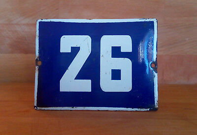 ANTIQUE VINTAGE ENAMEL SIGN HOUSE NUMBER # 26 BLUE DOOR GATE STREET SIGN 1950's