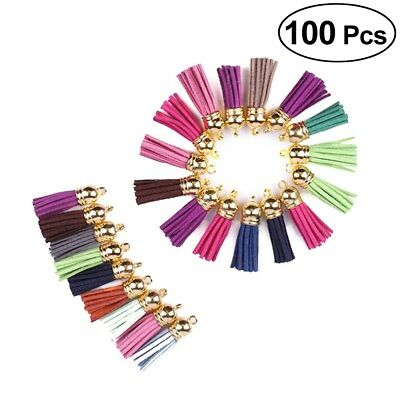 100pcs Multi-Coloured Suede Leather Tassel Pendant For Key Chains Cellphone Bag