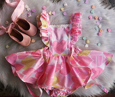 UK Heart Print Romper Newborn Kid Baby Girl Lace Jumpsuit Dress Outfit Sunsuit