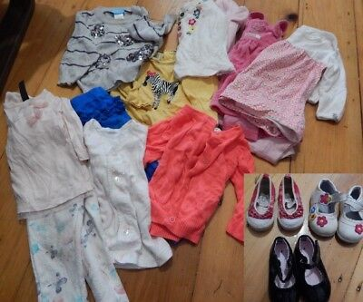 Bundle of baby girl WINTER clothes & shoes for 6 to 12 months (sz 0) FREE POST!