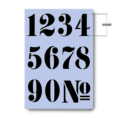 Numbers Stencil 60 mm tall French Style (2.3 inches) A4  *Free UK Delivery 008