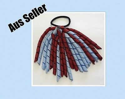 New Girls Curly Ribbon Corker Elastic Hair Tie *Maroon And Light Blue*