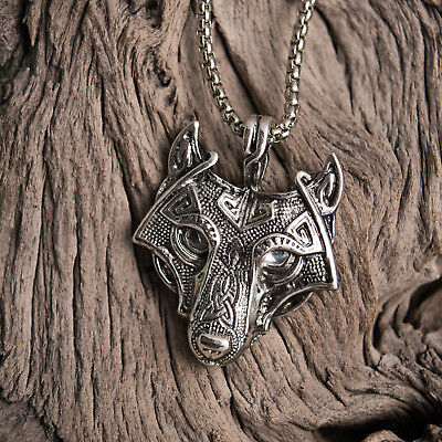 Antique Silver Tone Celtic Viking Wolf Head With Silver Eyes Pendant Necklace