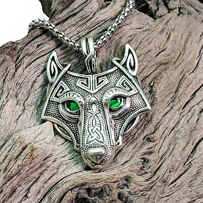 Antique Silver Tone Celtic Viking Wolf Head With Green Eyes Pendant Necklace