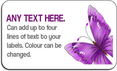Purple Butterfly Personalised Self Adhesive Labels with FREE protective wallet
